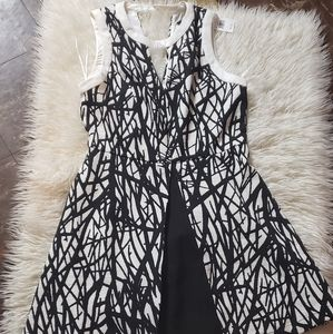 Black & White pleaded dress